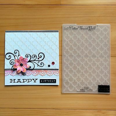 """COUTURE CREATIONS EMBOSSING FOLDER 5""""x7"""" COTTON THREAD QUILT """"REDUCED"""" - BNIP"""