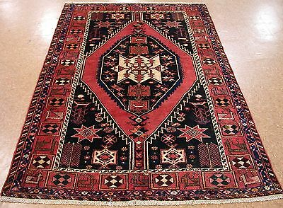 5 x 7 PERSIAN MAZLAGHAN TRIBAL Hand Knotted Wool SALMON BLACK Oriental Rug