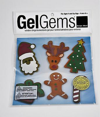 NEW - Christmas Holiday Home Decor Santa Reindeer Ginger Bread Man Window Clings