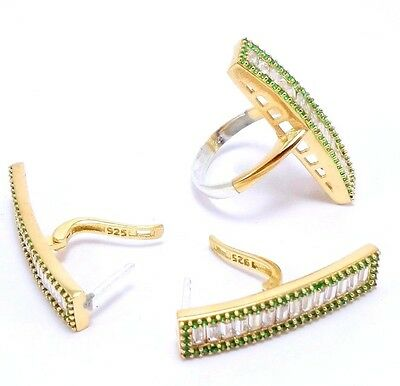 925 Sterling Silver Handmade Jewelry Baguette White Topaz & Emerald Sets