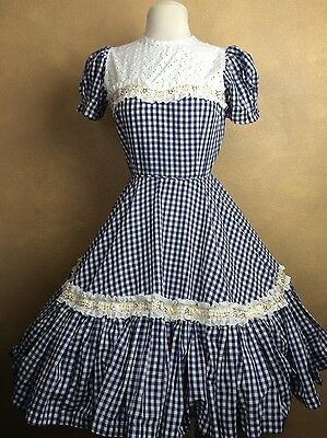 Vintage Gingham Eyelet Gold Lace Rockabilly Swing Square Dance Dress
