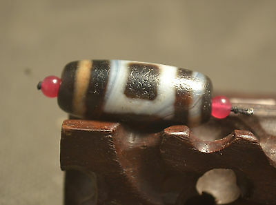 Rare Treasure Tibetan Old Oily Agate Heaven&Earth dZi Bead Totem Amulet 31*14MM