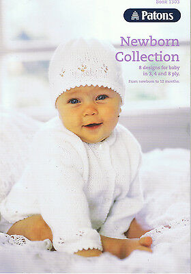 PATONS NEWBORN COLLECTION 3 4 & 8 ply KNITTING PATTERN BOOK 1303  0 - 12 mnth