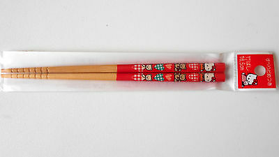 VINTAGE! 1996 HELLO KITTY Chopsticks Collectable Item by Sanrio Japan Wood Red