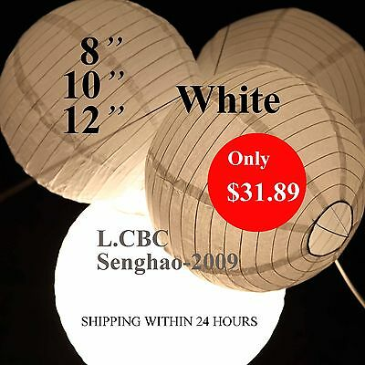 36 x White Paper Lanterns Led Lights Birthday Party Wedding Decoration Crafts