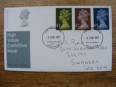 GB 1977 High Value large definitive stamps £5 £2 £1 on FDC