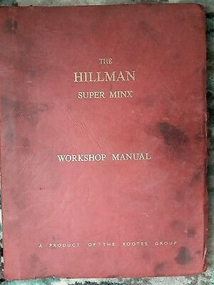 Hillman Super Minx Mark I, II + III original Workshop Manual issued in 1964