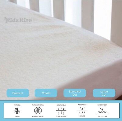 Kidz Kiss Bamboo Waterproof Fitted Mattress Protector / Cover Set
