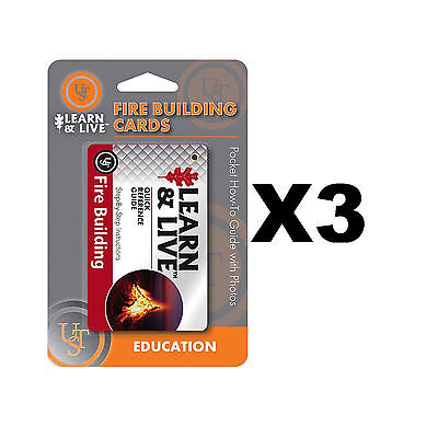 Ultimate Survival Technologies Learn & Live Fire Building Cards Guide (3-Pack)