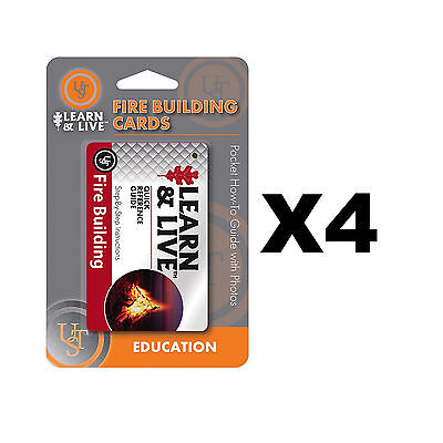 Ultimate Survival Technologies Learn & Live Fire Building Cards Guide (4-Pack)
