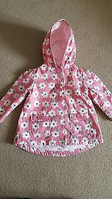 Next Girls Raincoat Mac Pink With Flowers Age 2-3 Years