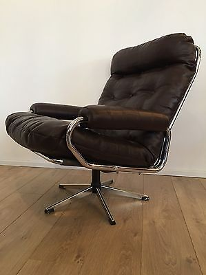 Mid Century Danish Leather Swivel Armchair 1970's LONDON DEL £60