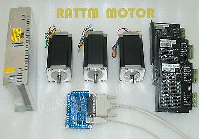 3 Axis Nema23 stepper motor dual shaft 425oz.in & 4.0A Driver CNC controller Kit