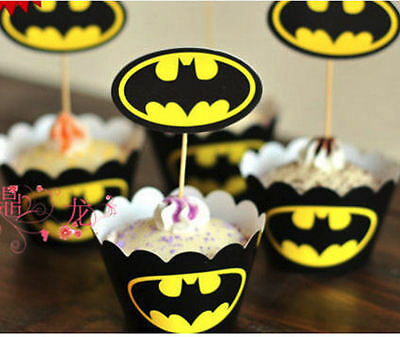 Boys Birthday Cupcake Covers plus Cake Toppers x 12 (Bat Man themed)