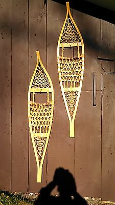 Traditional Wooden, Wood and Rawhide Ojibwa Style Snowshoes