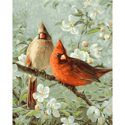 Cardinals Paint By Number Color Canvas Textured Print Reproduction