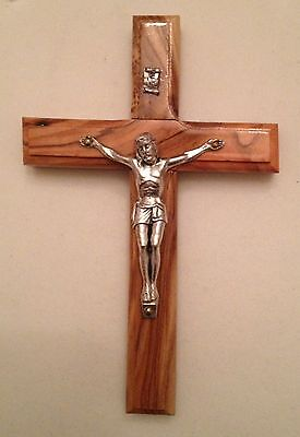 Vintage Handcrafted Jerusalem Timber Cross With Silver Crucifix  - As New