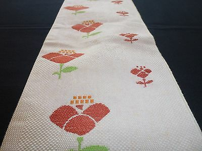 Vintage authentic Japanese hanhaba obi for kimono, white, red flowers (K592)