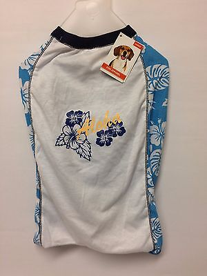 DOG T-Shirt - BLUE & WHITE with 'Aloha' Design - Size Large - NEW only £3.75 • EUR 4,09