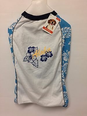 DOG T-Shirt - BLUE & WHITE with 'Aloha' Design - Size Large - NEW only £3.75