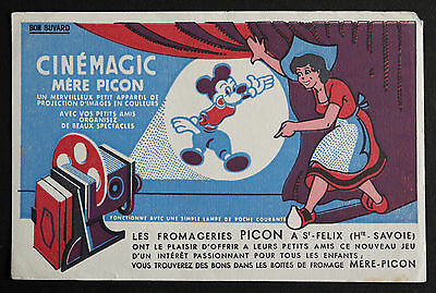 Buvard Publicitaire Ancien : Fromage Mere Picon - Cinemagic - Mickey, Disney