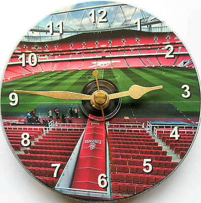 Football cd clock with Arsenal Emirates stadium on clock face