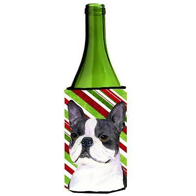 Boston Terrier Candy Cane Holiday Christmas Wine bottle sleeve Hugger 24 oz.