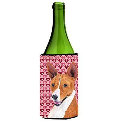 Basenji Hearts Love and Valentines Day Portrait Wine bottle sleeve Hugger