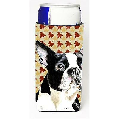 Boston Terrier Fall Leaves Portrait Michelob Ultra s For Slim Cans 12 oz.