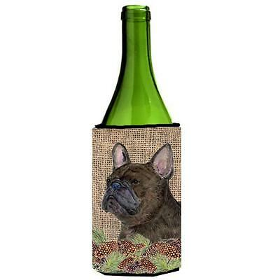 French Bulldog On Faux Burlap With Pine Cones Wine bottle sleeve Hugger