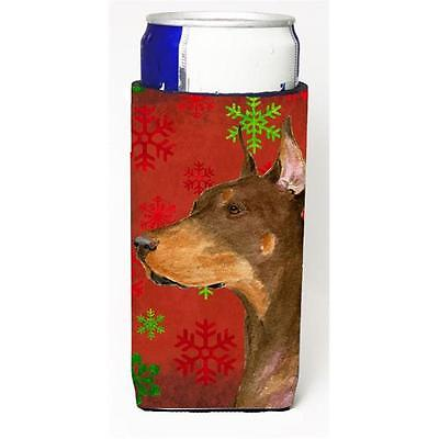 Doberman Red And Green Snowflakes Holiday Christmas Michelob Ultra bottle sle...