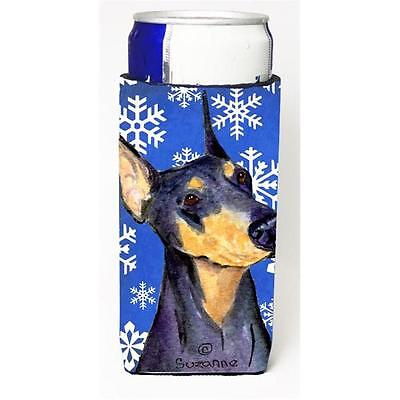 Doberman Winter Snowflakes Holiday Michelob Ultra bottle sleeves for slim can...