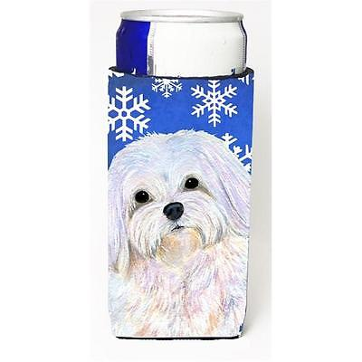 Maltese Winter Snowflakes Holiday Michelob Ultra bottle sleeve for Slim Can