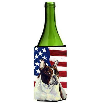 USA American Flag with French Bulldog Wine bottle sleeve Hugger 24 oz.