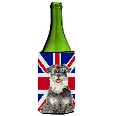Schnauzer with English Union Jack British Flag Wine bottle sleeve Hugger
