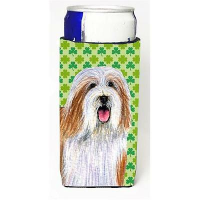 Bearded Collie St. Patricks Day Shamrock Portrait Michelob Ultra bottle sleev...