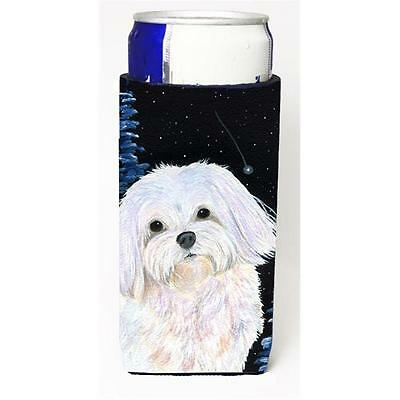 Starry Night Maltese Michelob Ultra bottle sleeves For Slim Cans 12 oz.
