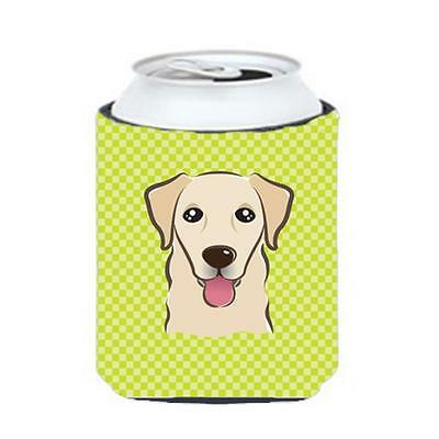 Checkerboard Lime Green Golden Retriever Can Or Bottle Hugger, 12 Oz.