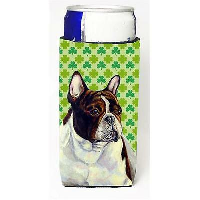 French Bulldog St. Patricks Day Shamrock Portrait Michelob Ultra bottle sleev...