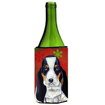 Basset Hound Snowflakes Holiday Christmas Wine bottle sleeve Hugger