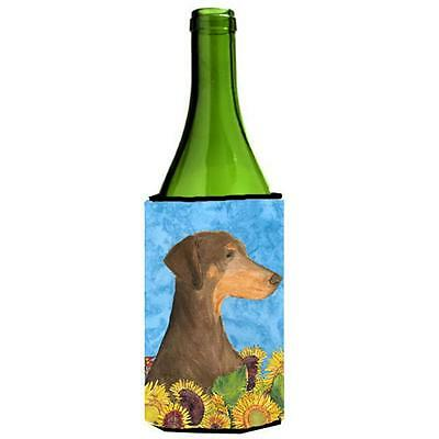 Carolines Treasures Doberman In Summer Flowers Wine bottle sleeve Hugger 24 oz.