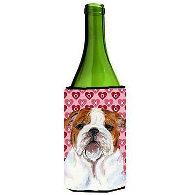 Bulldog English Hearts Love Valentines Day Wine bottle sleeve Hugger 24 oz.