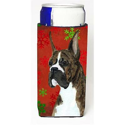 Boxer Red And Green Snowflakes Holiday Christmas Michelob Ultra bottle sleeve...