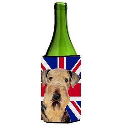 Airedale With English Union Jack British Flag Wine bottle sleeve Hugger 24 Oz.