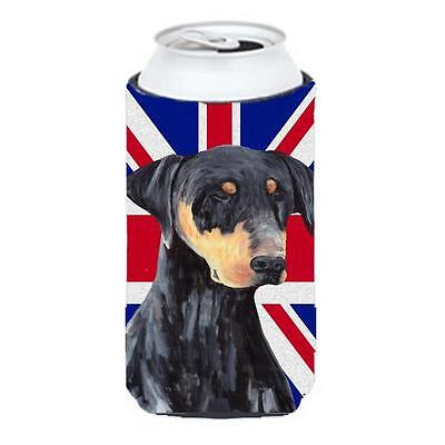 Doberman With English Union Jack British Flag Tall Boy bottle sleeve Hugger 2...