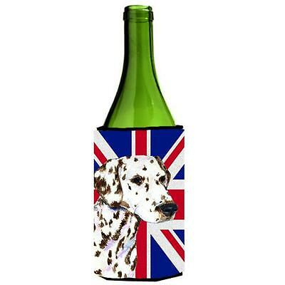 Dalmatian With English Union Jack British Flag Wine bottle sleeve Hugger 24 Oz.