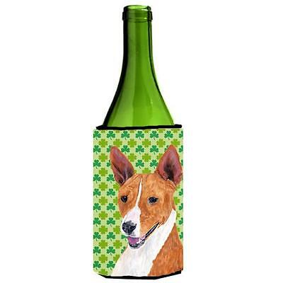 Basenji St. Patricks Day Shamrock Portrait Wine bottle sleeve Hugger 24 oz. • AUD 48.26