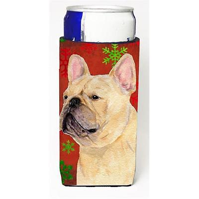 French Bulldog Red And Green Snowflakes Holiday Christmas Michelob Ultra bott...