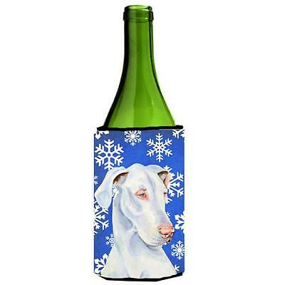 Great Dane Winter Snowflakes Holiday Wine bottle sleeve Hugger 24 oz.