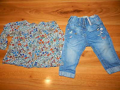 NEXT girls BUNNY blouse jeans outfit bundle 6-9 months *I'll combine postage